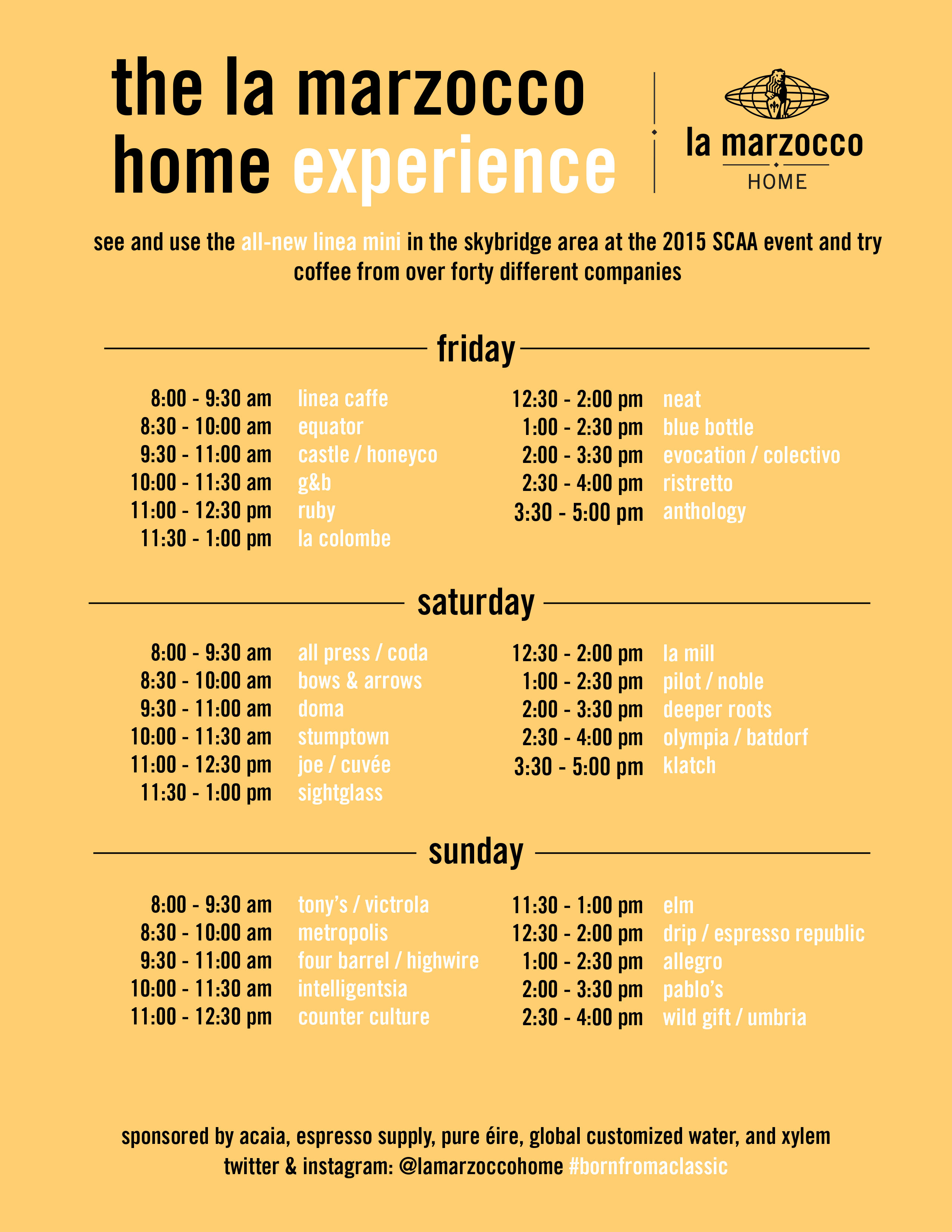 La Marzocco Home Experience Schedule